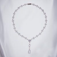 Tiny Crystal Leaf Y Shape Necklace with Teardrop
