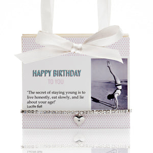 Happy Birthday Postcard With Tiny Sparkle Bead Bracelet Amythest 'The Secret To A Good Life..'