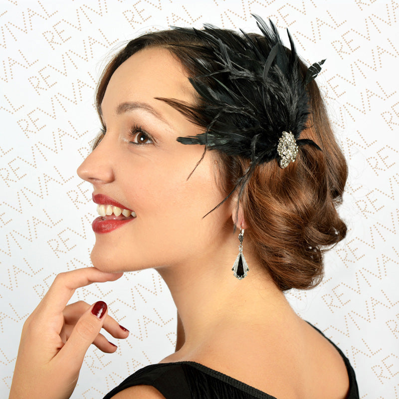 Picture of Feather Hair Clip with Czech Crystals Black