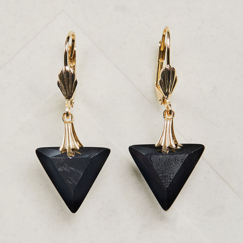 Vintage 1920s Black Triangle Earrings by Lovett and Co