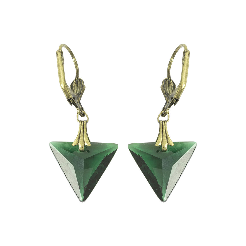 Vintage 1920s Green Triangle Earrings by Lovett and Co