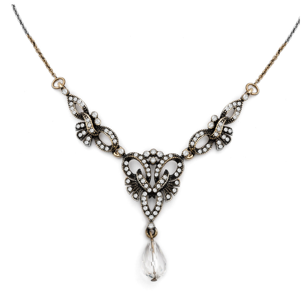 Vintage 1930s Lula necklace with crystal and diamante stones by Lovett and Co