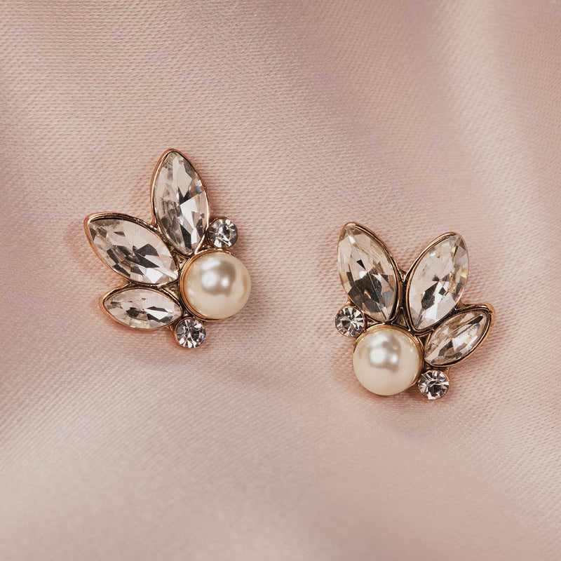 Vintage inspired 1950s Leaf and Pearl Stud Earrings by Lovett and Co
