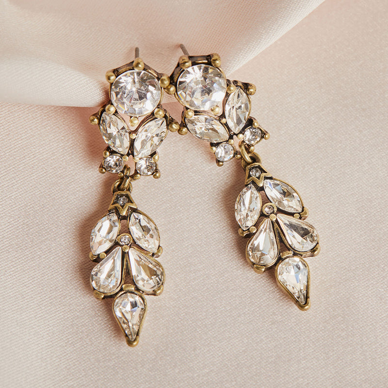 Vintage Antique Diamante Drop Earring by Lovett and Co