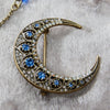 Vintage Crescent Crystal Moon Brooch by Lovett and Co