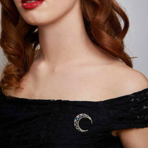 Vintage Crystal Crescent Moon Brooch by Lovett and Co