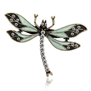Vintage Dragonfly Brooch in Green with Swarovski Crystals by Lovett and Co