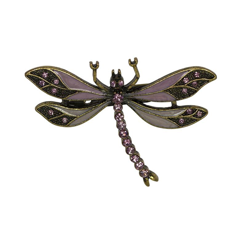 Vintage Dragonfly Brooch in Lilac with Swarovski Crystals by Lovett and Co