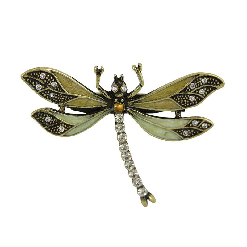 Vintage Dragonfly Brooch in Light Green with Swarovski Crystals by Lovett and Co