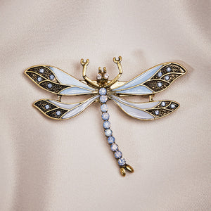 Vintage Dragonfly Brooch in Light blue with Swarovski Crystals by Lovett and Co