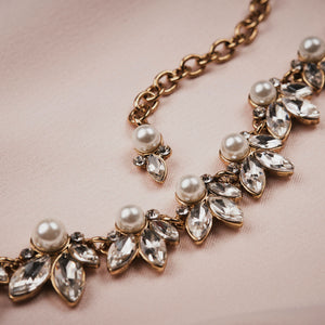 Detail of Vintage Crystal leaf and pearl necklace by Lovett and Co