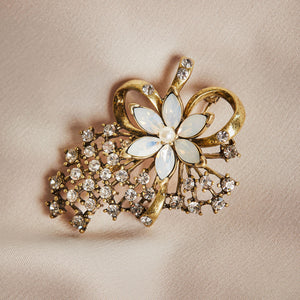 Vintage Miriam Haskell Designed Flower Brooch by Lovett and Co
