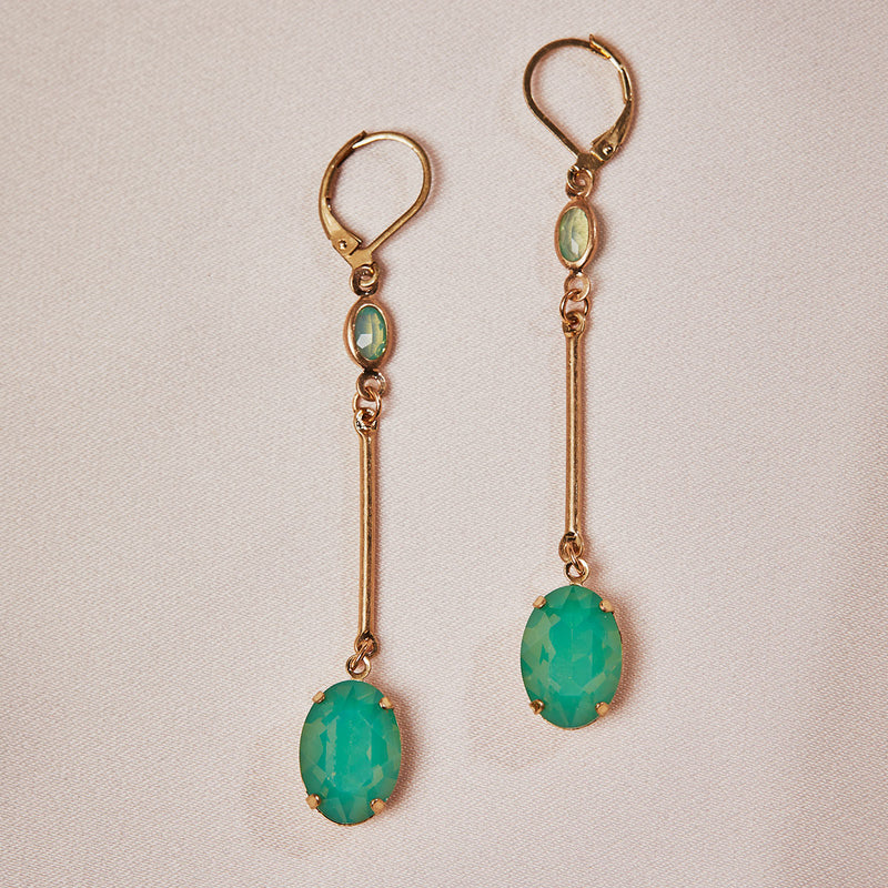 Vintage Oval Stone Drop Earrings in Emerald Green by Lovett and Co