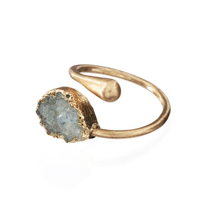 Adjustable Druzy Stone Ring Blue