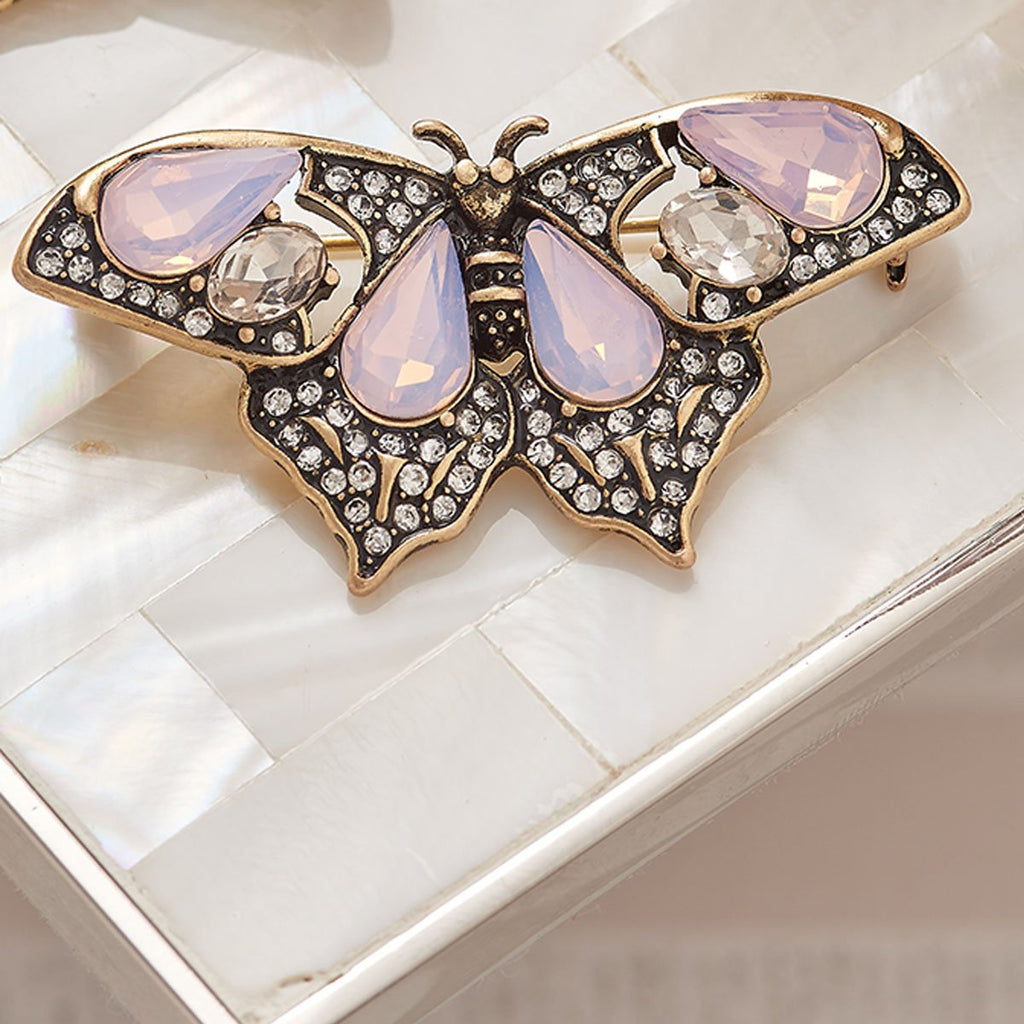 Butterfly Brooch Pin in Pacific Opal