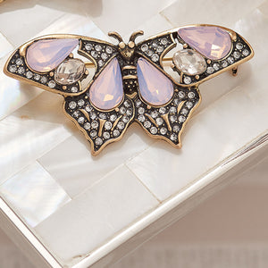 Butterfly Brooch Pin in Rose Opal