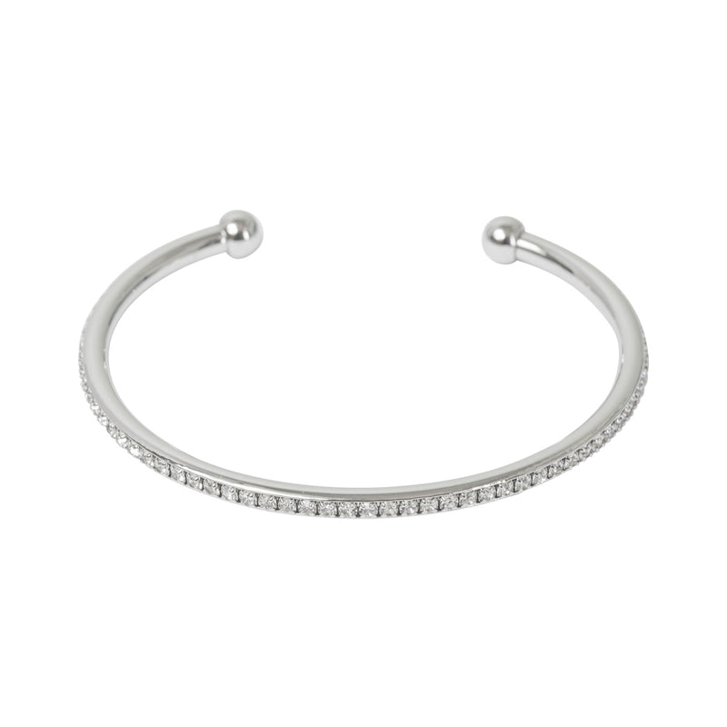 Picture of Crystal Edged Open Bangle - Silver