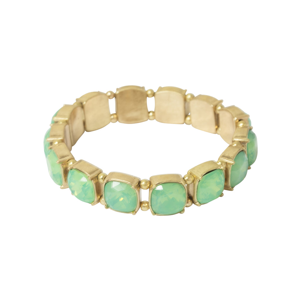 Image of vintage inspired elasticated cushion cut stone bracelet in green colour