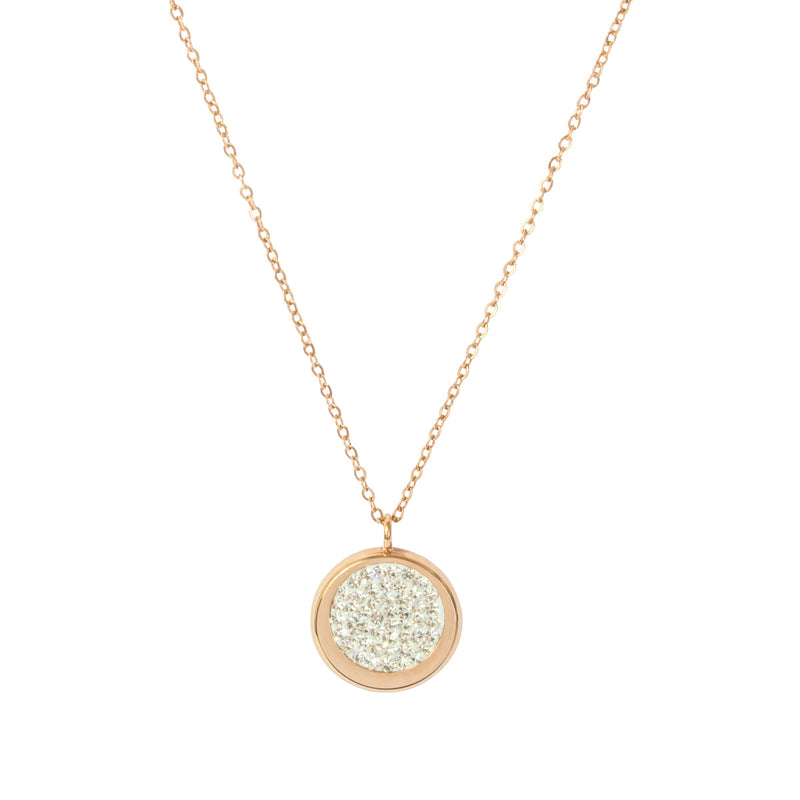Picture of Disc Pave Necklace - Rose Gold