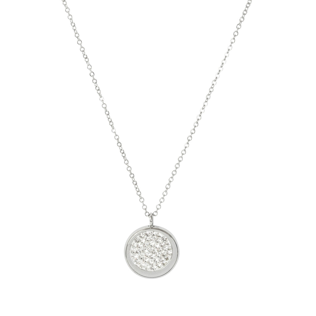 Picture of Disc Pave Necklace - Silver