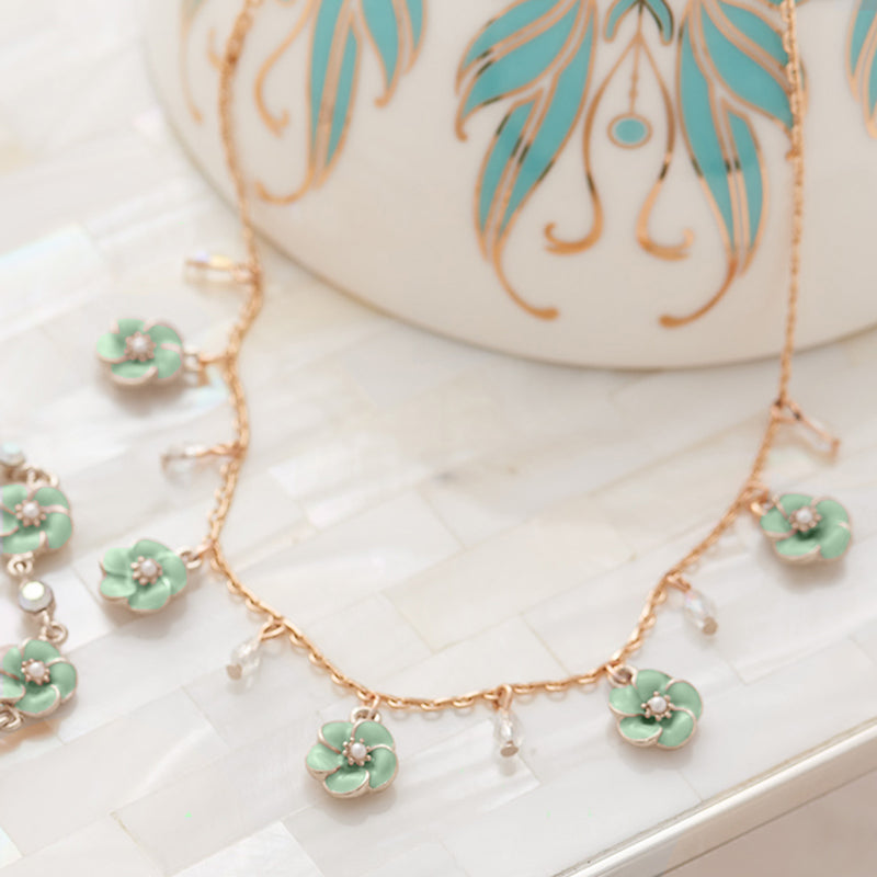 Picture of Small Rose Necklace in Mint Enamel with White Opal Drops
