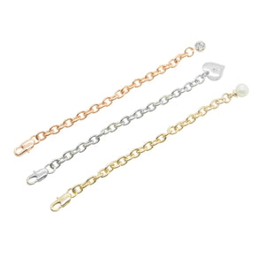 Picture of Multipack of extender chains in three different colours gold,silver and rose gold for necklaces and bracelets
