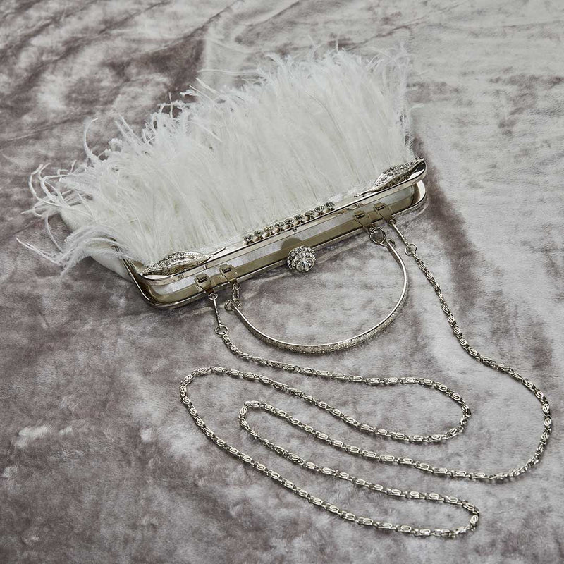 Feather bag with diamante clasp