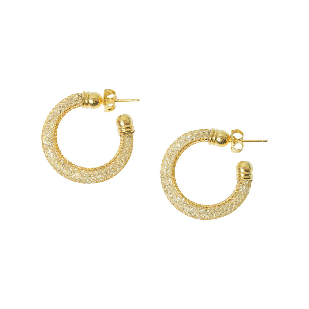 Picture of Mesh Crystal Hoop Earring - Gold