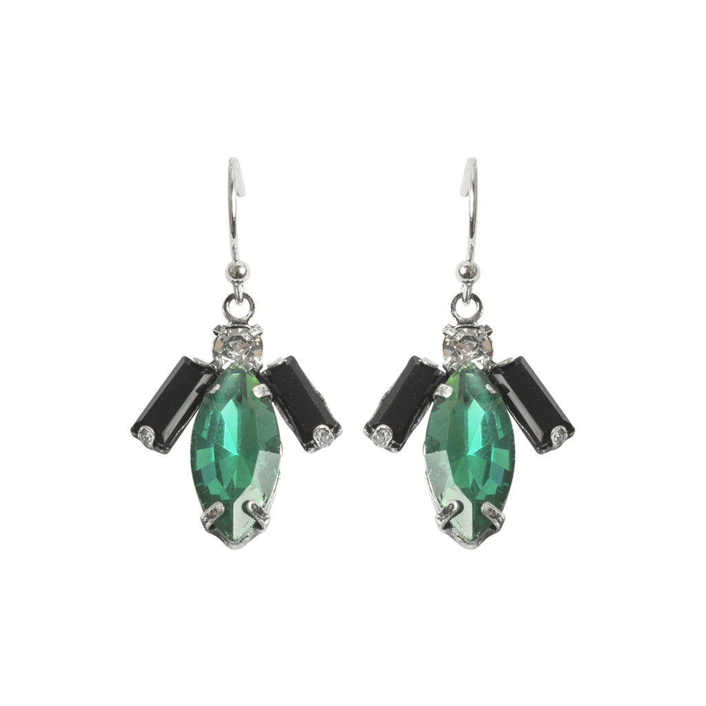 Vintage style 1920s inspired short drop tear drop earring in green colour