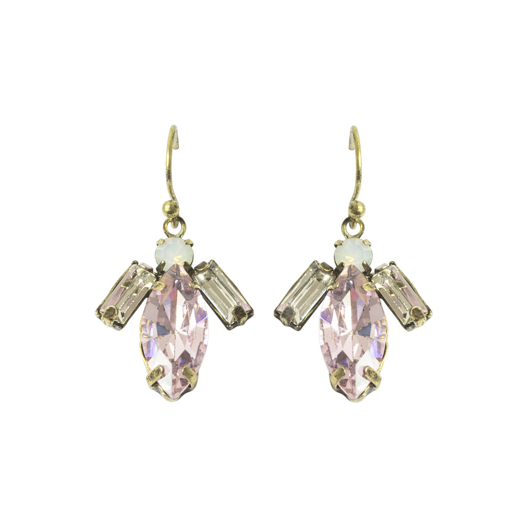 Image of vintage inspired 1920s style tear drop short drop earring in pink colour. Suitable for all occassions