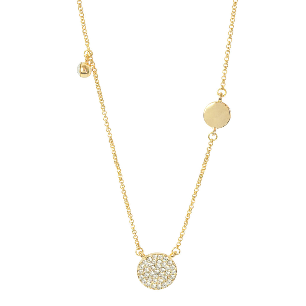 Pave Disc Asymmetric Necklace