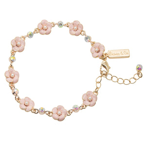 Picture of Small Rose 1 Row Bracelet in Pink Enamel