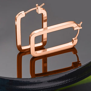 Rose Gold plated hoop earrings square 1970's vintage inspired pictured on a black background by Lovett and Co