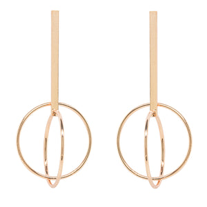 Picture of Contemporary Double Hoop Earrings Plated in Gold