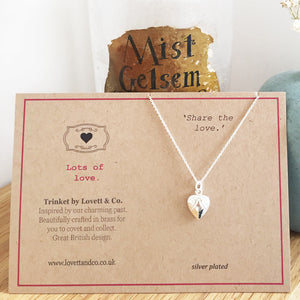 Silver Plated Heart Charm Necklace with Card
