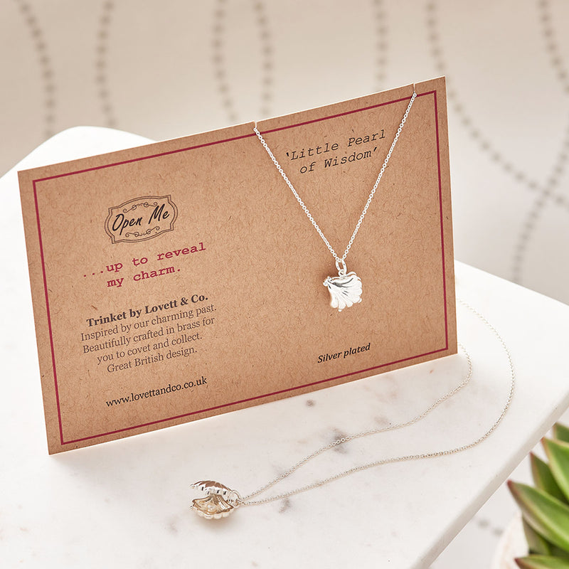 Picture of Silver Plated Shell with Pearl Charm Necklace with Card