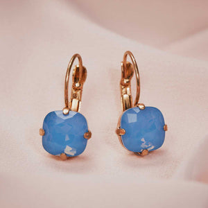 Cushion Cut Earring (Blue Opal)