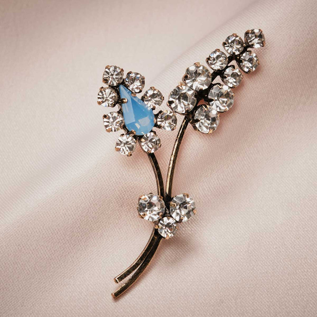 Crystal Sprig Leaf Brooch (Blue Opal)