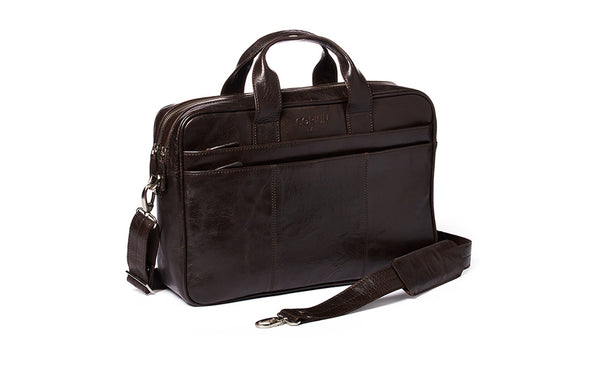 Corium double laptop taske - brun