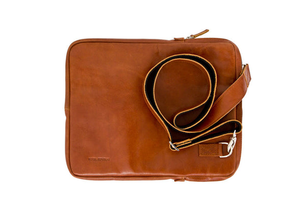 Laptop Cover m/skulderrem Cognac