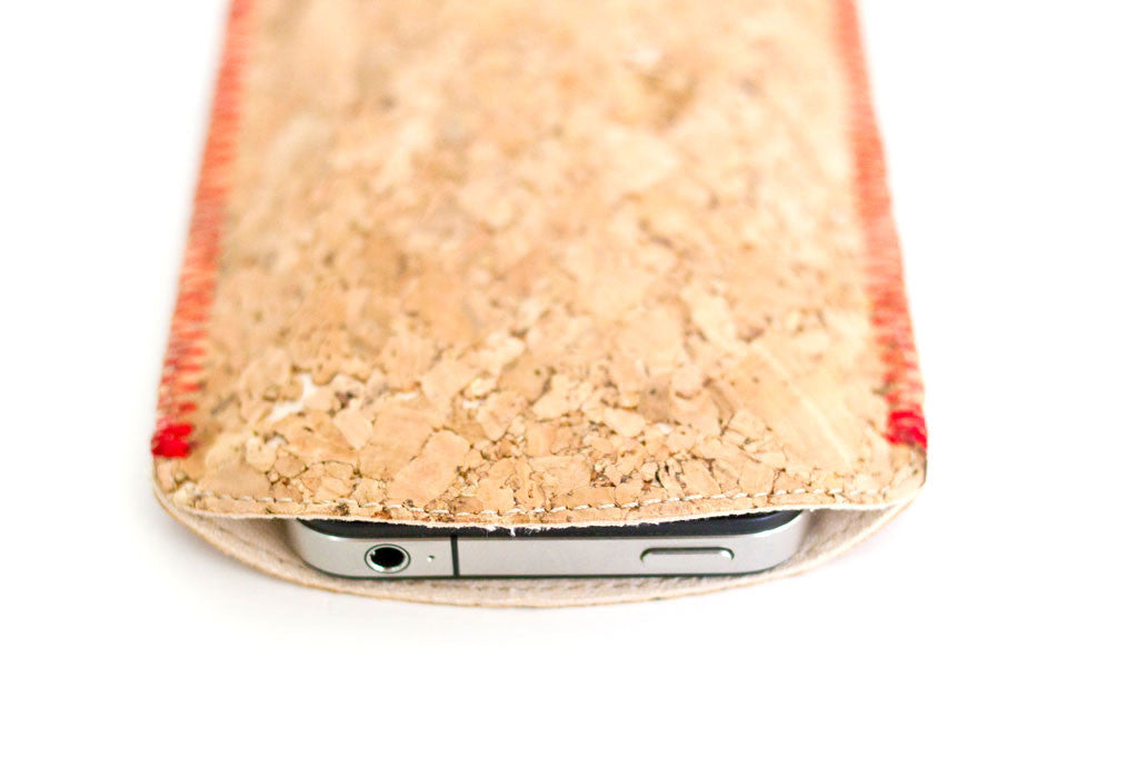 Kork iPhone 4 Sleeve Rød Syning