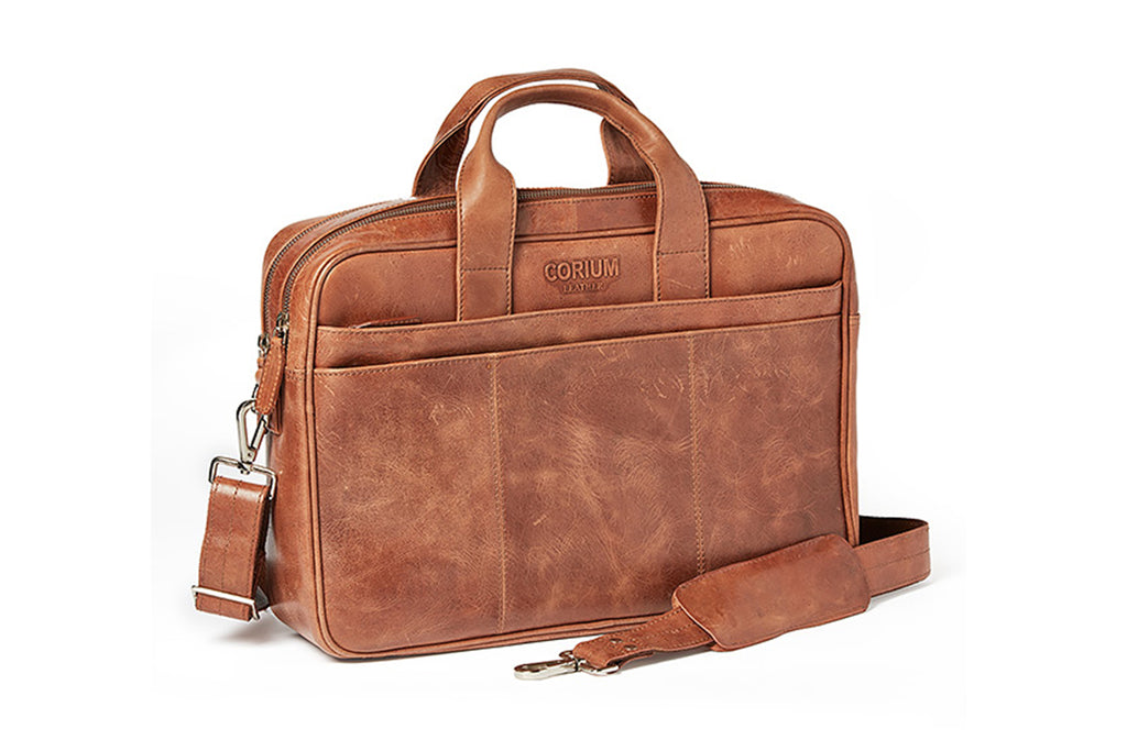 Corium double laptop taske - vintage