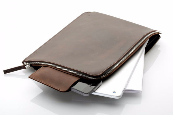 Ipad Zip Sleeve Brun