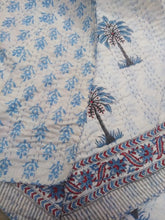 Load image into Gallery viewer, Casa Palm Tree Kantha Quilt - Blue