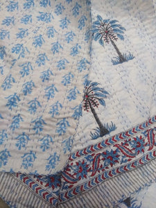 Casa Palm Tree Kantha Quilt - Blue