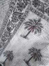 Load image into Gallery viewer, Casa Palm Kantha Quilt - Grey