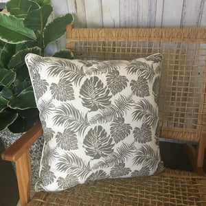 Grey Leaf Cushion Cover
