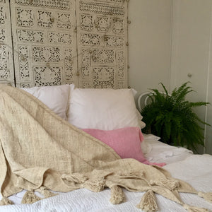Tahini Natural Fringed Throw