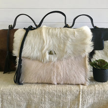 Load image into Gallery viewer, Luxe Goat Hair Leather Hand Bag
