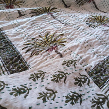 Load image into Gallery viewer, Casa Palm Kantha Quilt - Green